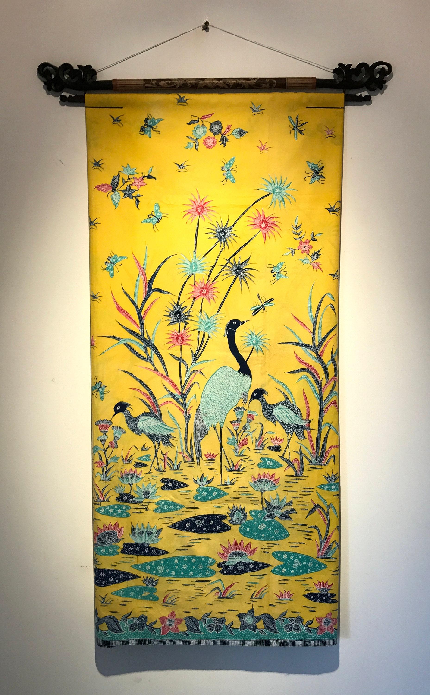 Yellow Pekalongan Hand-drawn Batik Decor - Heron and Lotus Pond ...