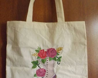 Victorian Boot embroidered tote bag