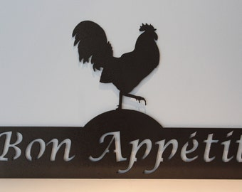 Bon Appetit Rooster Metal sign Country Style