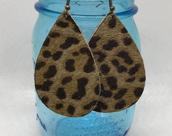 Leopard, hair on leather earrings