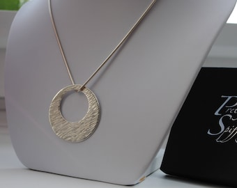 Silver Circle Pendant Necklace/Textured Silver Circle Disc/Sterling Silver 925/Gift for Her