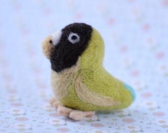 Needle felted green and black lovebird, Felted bird, Lovebird, Felted parakeet