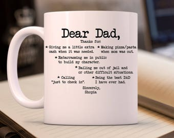 Custom Father Day Gift, Dear Dad, Father's Day Gift, Dad Birthday, Funny Fathers Day Mug, Funny mug, personalized Name