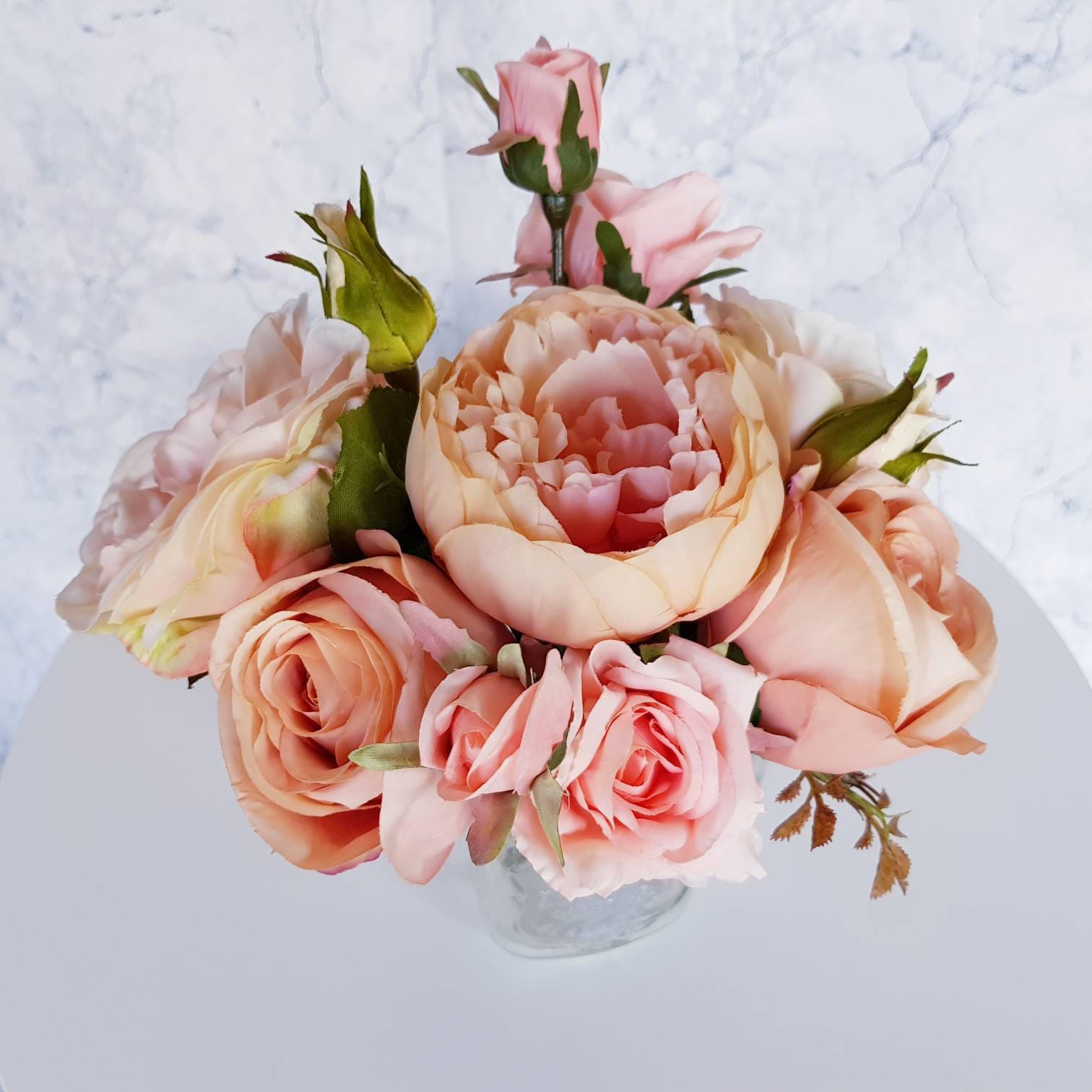 Peach Pink Bouquet Mixed Flowers Nostalgic Home Decor Wedding Event  Occasion Gift Present Artificial Silk Loose