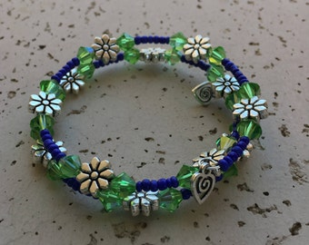 Green and Blue Memory Wire Flowered Bracelet