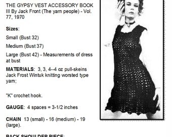 Gypsy Mini Dress, Crochet Pattern, Vintage Pattern, Retro Fashion, Women's Clothing, 1970's,