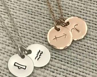 Couples Zodiac Necklace, Tiny Double Zodiac Necklace, Double Zodiac, Rose Gold, Gold, Silver, Gift for Her, Birthday Gift, Anniversary Gift