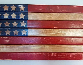 American Wooden Flag, 16x10, Primitive Distressed Rustic Wood Americana Wall Decor, Hand painted, Indepedence Day, 4th of July Decoration
