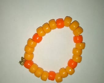 Orange & Red Bead Bracelet ~ PLUR