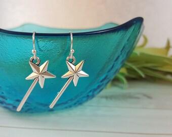 Fairy Wand Silver Earrings - Fairy Wand Earrings - Magical Wand Earrings - Fairy Godmother Earrings - Fairy Jewelry - Magical Earrings