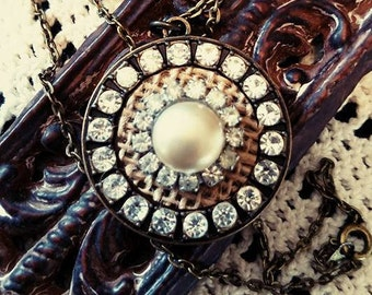 Vintage Crystal and Button Pearl Necklace