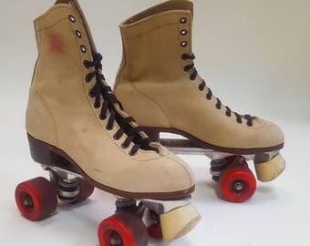 Vintage Riedell  Suede tan roller skates Rol-Best wheels