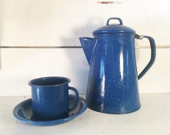 Blue and White Speckled Enamelware Kettle, Coffee Cup w/ Saucer/Farmhouse Kitchen Blue Enamelware Coffee Set/Shabby Chic Enamel Mug & Saucer