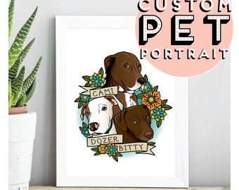 Custom 3 Pet Portraits Tattoo Flash Style PDF