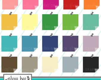 SALE- Post-It Note with Push Pin-Sticky Note- Clipart Set, Commercial Use, Instant Download, Digital Clip Art, Planner Clip Art - MP224