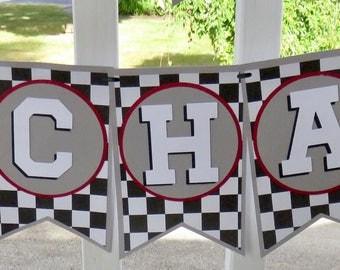 Race Car Name Sign, Race Car Banner, Race Car Birthday Banner, Race Car Flag Sign