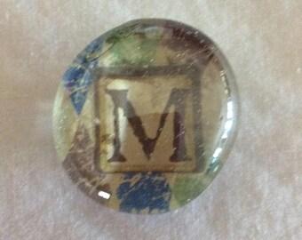 Magnet / Letter M / Glass