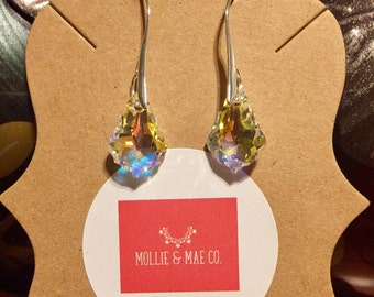 Swarovski Crystal Aurora Borealis Sterling Silver Earrings