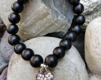Black Beaded Bone Bracelet