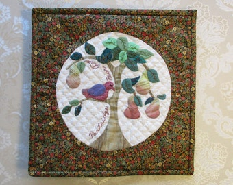 """OOAK Partridge, Pear Tree little Christmas wall quilt, hand appliqué, hand embroidery, hand quilting, 11 1/2"""" square,FREE SHIPPING"""