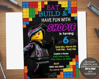 INSTANT DOWNLOAD-Lego Invitation, Lego Birthday Invitation, Lego Party, Lego Birthday Party, Girl Lego Invitation, Girl Lego Editable PDF