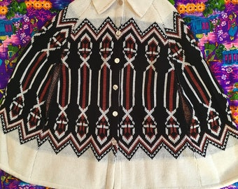Vintage Sweater Poncho Cape Button Up With Collar Geometric Montgomery Ward