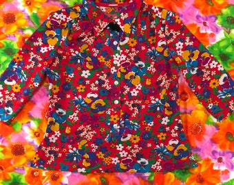 Vintage Red Floral Pansy Daisy Primary Colors Three Quarter Sleeves Button Down Shirt Top