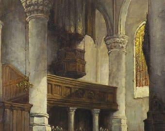 A Sunlit Church Oil Painting by Adrianus Visser