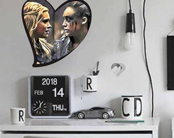 Wall Sticker The 100, #clexa, Valentine's Day, The100, Clarke and Lexa, Fridge Magnet, TV series, Gift,  #lgbtq, Ship, Love
