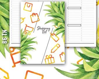 B6 TN Shopping List, B6 Grocery List, B6 Inserts, Traveler's Notebook Insert, TN Inserts, B6 TN Inserts, Traveler's Notebook Shopping List