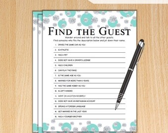 Find the Guest Bridal Shower Game / Tiffany Diamonds Theme Printable Bridal Shower Find the Guest Game / Bachelorette Party Games TB74