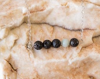 Lava Bead Essential Oil Diffuser Necklace and Bracelet- Aromatherapy Oil Diffuser Necklace -Bar Necklace -Amazonite Accent Bead -Non tarnish