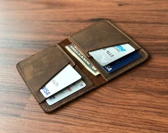 Personalized Bifold Leather Wallet, Unisex Wallet, Minimalist Leather Wallet, Slim Leather Wallet,Distressed Leather Wallet