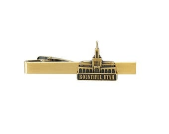Bountiful Utah Temple Gold Tie Bar - LDS Gifts