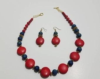 Red and Blue bead necklace and earring set