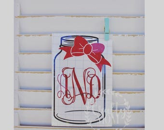 Mason Jar Monogram Decal with Bow