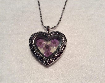 Beautiful Heart Shaped Locket Pendant with Dried Purple Flowers
