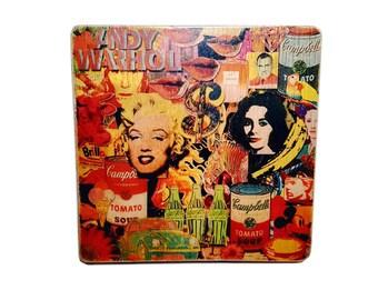Andy Warhol. Pop Art. Warhol. poster. gift. for. men. women. ArtesanalWoodprint. TALLER DENCANTS