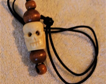 Hand Carved Yak Bone Prayer Skull Beaded Necklace With Wooden Beads and Leather Cord