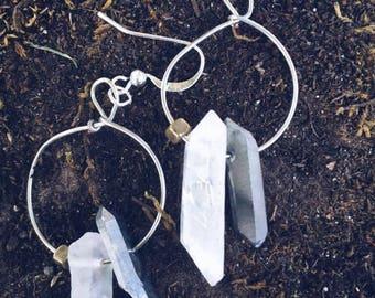 Crystal Quartz Hoop Earrings