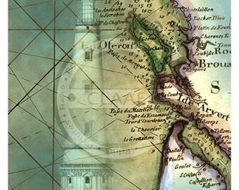 Lighthouse Cordouan card, nautical poster, Poster, Picture, marine decoration, nautical art, ocean, sea, sea, lighthouse, vintage