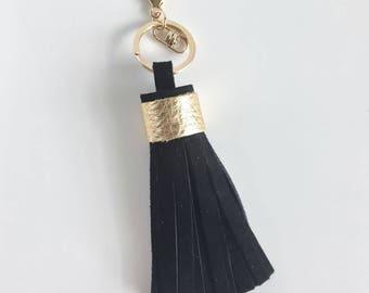 Tassel Keychain- Black Suede
