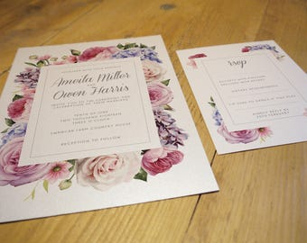 Printable Secret Garden Wedding Suite Including Invitation And Matching RSVP