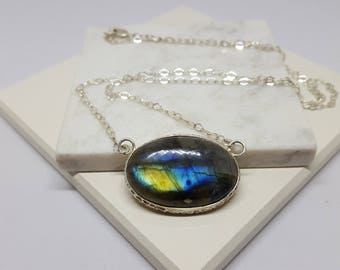 Labradorite Oval Pendant Necklace, bezel wrapped, sterling silver, natural blue yellow stone,