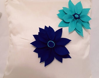 Designer, 3D Handmade Decorative Turquoise, Royal Blue Flower Petals Cushion Cover