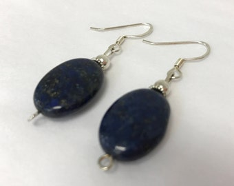Lapis Larger Oval Drop Earring