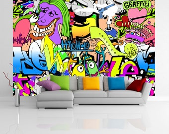 Removable Wallpaper Mural Peel & Stick Graffiti Wall Urban Art