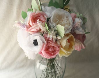 handmade tissue paper flower bouquet; pink, yellow, and white wedding flowers