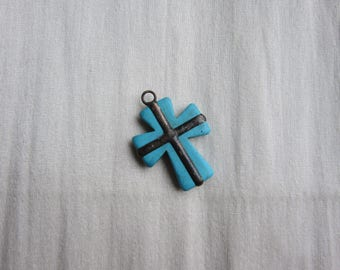 Large Hand Soldered Turquoise Cross Pendant