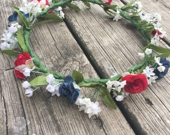 flower crown, red, white, and blue flower crown, fourth of July flower crown, USA Flower crown
